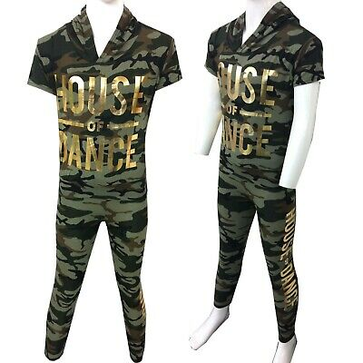 "Girls Kids Camouflage ""HOUSE OF DANCE"" Hooded Top And Legging Set Tracksuit"