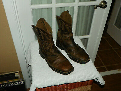 a54354aa430 ARIAT MENS SIERRA Wide Square Toe Cowboy Work Boot Aged Bark 10010148 size  10 EE