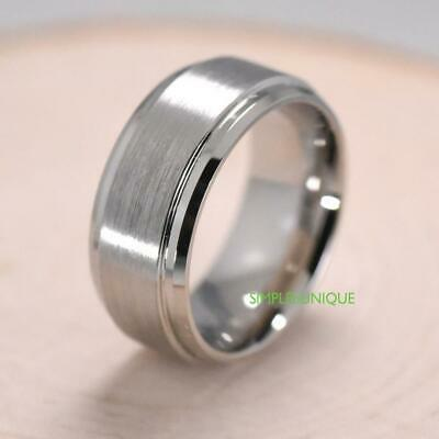 Tungsten Carbide 6mm Mens Wedding Band Comfort Fit Ring Brushed Silver Dome new