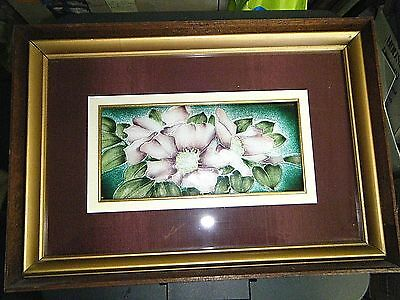 """Beautiful Framed Vintage Enamel / Guilloche On Silver Floral Plaque 16"""" X 11"""""""
