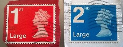2 Used Gb 1St & 2Nd Class Large Letter Sg U3037/2 Machin 2012 Stamps Ma12 Mfil