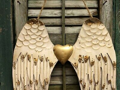 Angel Wings, Spiritual Symbol, Rustic Metal Wall Decor, Antique Gold,
