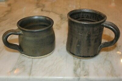 Vtg Pair NC Pottery Coffee Mugs Tea Cups. Gray/Taupe/Olive Drip Glaze Signed TE