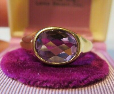 14K Vintage Art Deco Retro Bezel Set Unique Old Cut Amethyst Solitaire Ring