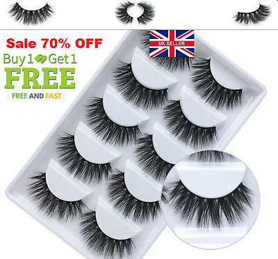 5Pair 3D Mink False Eyelashes Wispy Cross Long Natural Thick Soft Fake Lashes UK