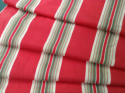 Antique French ticking fabric cotton red with khaki stripes  RARE early 1900's