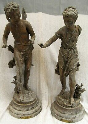 "Antique Pair Par Rancoulet Metal Spelter Figures (Printemps & Amour) 18.5"" Tall"