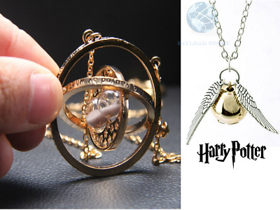 2x COLLANE CIONDOLO HARRY POTTER GIRATEMPO HERMIONE E BOCCINO D'ORO