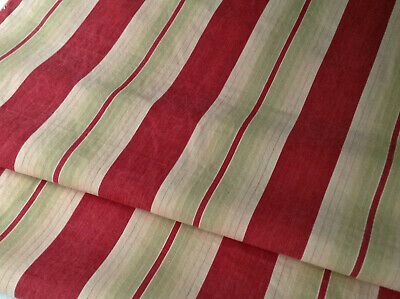 Antique French ticking fabric cotton red with sage stripes RARE early 1900's