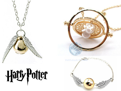3x ACCESSORI HARRY POTTER COLLANA CIONDOLO GIRATEMPO BOCCINO D'ORO E BRACCIALE