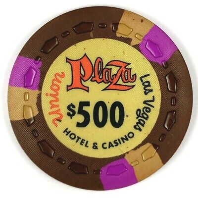 Union Plaza 1st Edition $500 Brown Scrown 3FCH3Tan OR-Gold Poker Chip (UP1ST20