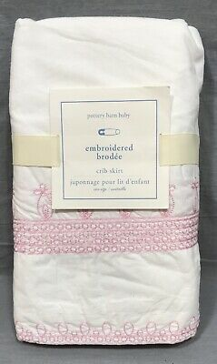 Pottery Barn Kids Pink Claire Embroidered Crib Skirt