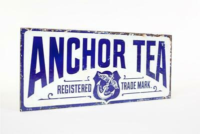 """Vintage c1900 ~ """"Anchor Tea"""" ~ """" Purity and Strength - Double Sided Enamel Sign"""