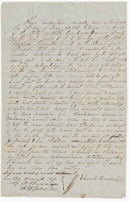 Person County North Carolina, Mississippi 1854 Deed Document - Houston