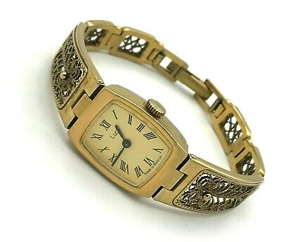 Vintage Luch Gold Color Ladies Mechanical Watch Filigree Bracelet Small Dial