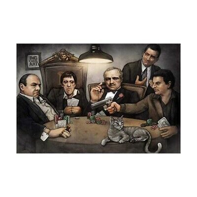 """Gangsters Playing Poker Poster 24"""" x 36"""" Big Chris Goodfellas Godfather Scarface"""