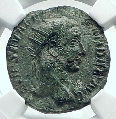 SEVERUS ALEXANDER Authentic Ancient 228AD Rome Dupondius Roman Coin NGC i78677