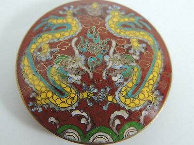 Vintage Chinese Cloisonne Pill - Trinket Box - Dragons