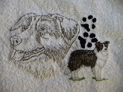 Border Collie Blk Paw Dog Embroider Many Items Quilt Sewing Carols Crate Cover