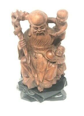 Chinese Root Carving Wood Shou Lao with Children Rod God of Longevity Sculpture