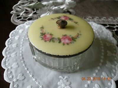 Antique Footed Cut Glass Enamel Lidded Powder Jar Vanity Dish
