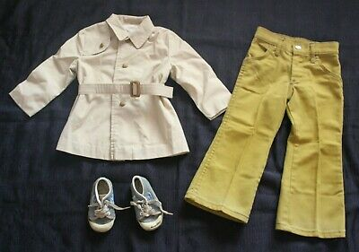 "Vintage Toddler ""Billy The Kid"" Denim Jeans +Stride Rite Shoes +Trench~Rain Coat"