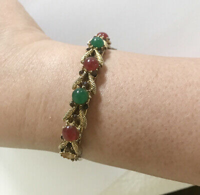 Vintage Chinese Jade and Agate Cabochons Domes Filigree Vermeil Silver Bracelet