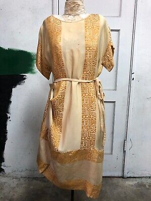 Antique 1920s Golden Yellow Silk Art Deco Dress Geometric Brocade Vintage