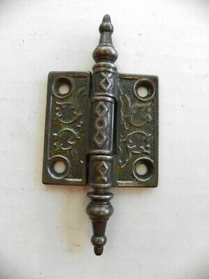 "VINTAGE Cast Ornate Victorian Eastlake Door Hinge 2"" X 2"" Steeple Pin"