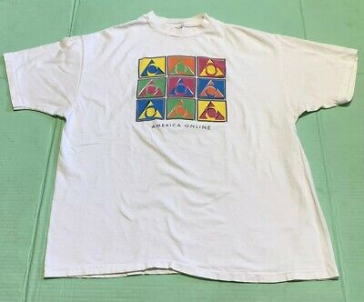 RARE VINTAGE AOL America Online Dial Up Internet T Shirt 90s Aim Computer  SZ XL