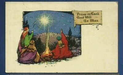3 card lot/ Art Deco style/ Christmas pcs/wisemen/ star/campfire/camels/nightvie