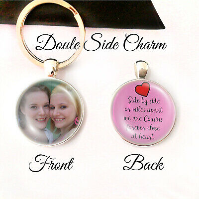 Personalised Double Sided Keyring Cousins Birthday Gifts Special Heart Forever