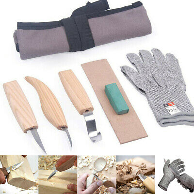 AU Wood Carving Tool Chisel Woodworking Whittling Cutter Chip Hand Tool + Gloves