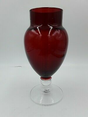 Vintage Ruby Red Glass Vase with Clear Footed Stem 6.5 in tall