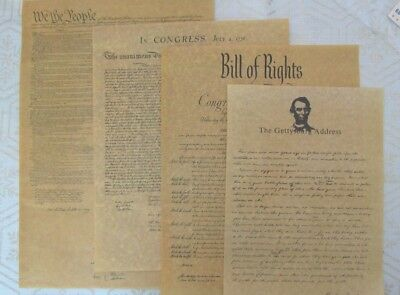 Antiqued Parchment Paper, Bill Of Rights, Constitution, Gettysburg, Declaration