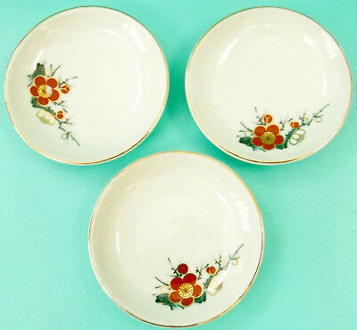 3 Small Ceramic Bowls Red & Black Flowers Gold Outline Japan Unused