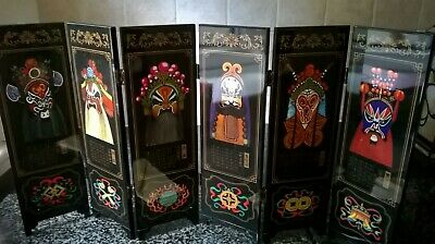 Lacquered Folding Screen With Hand Painted Chinese Opera Facial Masks Ornament