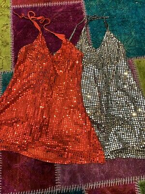 Vintage Disco Sequin Mini Dresses Red Silver Party Clubbing Small