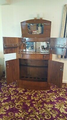 Antique Art Deco Drinks Cabinet in Walnut all original