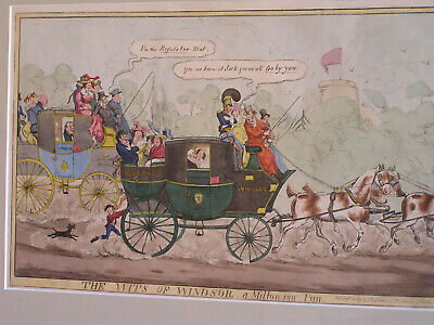 Original Antique Satirical Print - 19th century coaching - London to Windsor