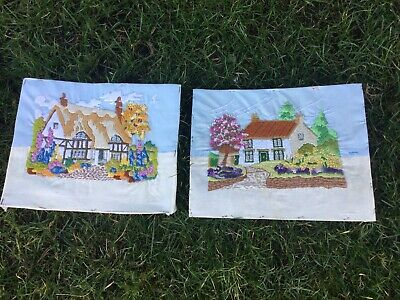 Pair Vintage Tapestry Embroidered  Picture Country Cottage Garden Hand Stitch