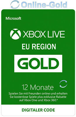 Xbox Live 12 Monate Gold Mitgliedschaft Card - Xbox 360 & One Download Code - EU