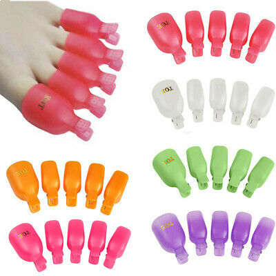 5Pcs Plastic Mini  Foot Toe Nail Art Soak Off Cap Clips Polish Remover Wrap Set