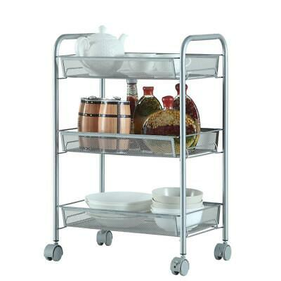 3-Tier Metal Rolling Utility Cart Kitchen Cart Trolley Mobile Storage Organizer