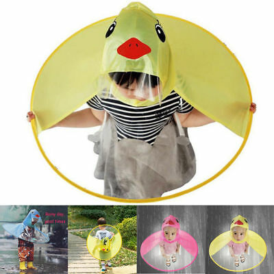 Rain Coat UFO Duck Kids Baby Children Umbrella Hat Magical Hands Free Raincoat
