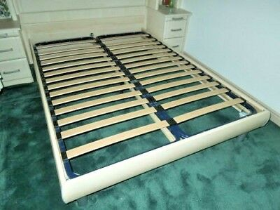 """Double 4'6"""" Quality Bed on Metal Legs & Frame Flatpack Slats Colour Ash Effect"""