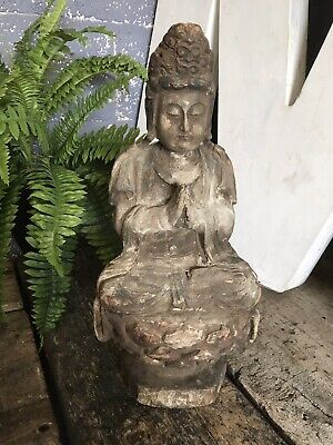 Antique Vintage Chinese Carved Wood Wooden Guanyin Kwan Yin Goddess Figure 46cm