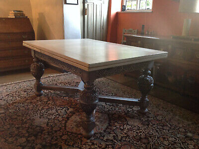 Large Carved Oak Antique Vintage Refectory Dining Table