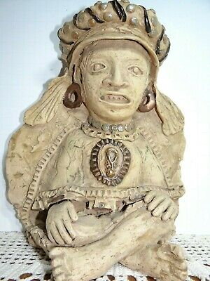 Vintage Mexican Folk Art Pottery Zapotec Mayan Aztec Pottery Vessel Seated Deity