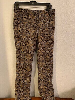 New York And Company 7th Avenue Design Studio Size 2 Black And Gold Pants